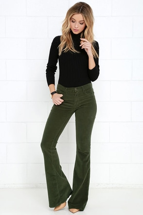 Walking in Memphis Navy Blue Corduroy Flare Pants at Lulus.com!