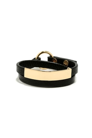 'Round and 'Round Black Vegan Leather Wrap Bracelet at Lulus.com!
