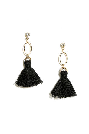 Mind Your Manor Black Tassel Earrings at Lulus.com!
