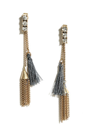 Where Art Thou? Gold and Grey Rhinestone Peekaboo Earrings at Lulus.com!