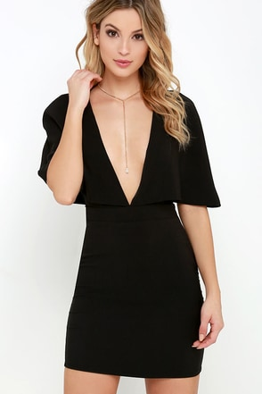 Swift as the Wind Black Cape Dress at Lulus.com!