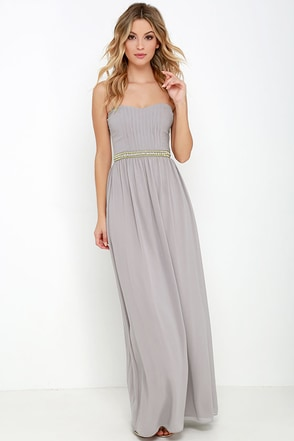 Takes the Cake Taupe Strapless Maxi Dress at Lulus.com!