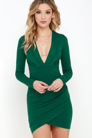 Got a Ruche On You Dark Green Bodycon Dress at Lulus.com!