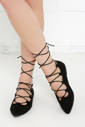 Happy Trending Grey Suede Lace-Up Flats at Lulus.com!