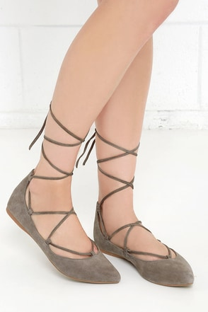 Steve Madden Eleanorr Taupe Suede Leather Ankle Wrap Flats at Lulus.com!