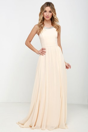 Cheerful Pale Peach Maxi Dress at Lulus.com!