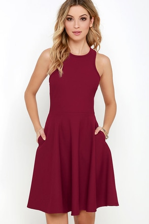 Now or Skater Burgundy Dress at Lulus.com!