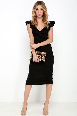 Ready to Ruffle Black Midi Dress at Lulus.com!