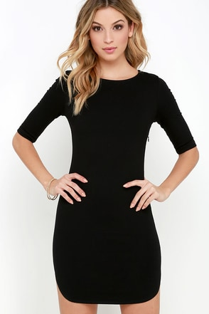 'Round the Curves Black Bodycon Dress at Lulus.com!