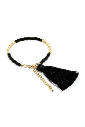 Tickle Your Fancy Ivory and Black Tassel Bracelet at Lulus.com!