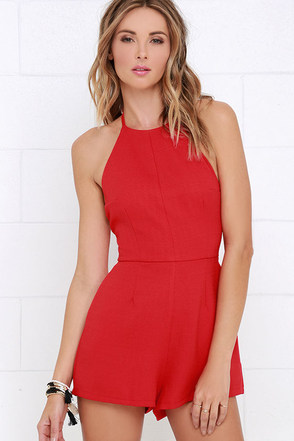 Flight to Florianopolis Red Romper at Lulus.com!