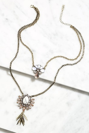 Stun and Done Gold Layered Rhinestone Necklace at Lulus.com!