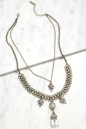 Leaf in Awe Gold Rhinestone Layered Necklace at Lulus.com!