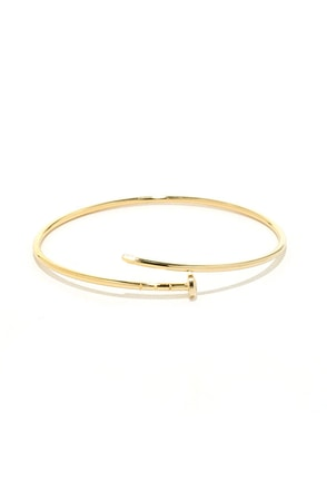 Get the Point Yellow Gold Nail Bracelet at Lulus.com!