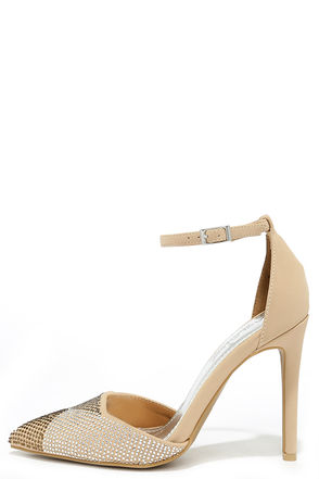 Set the Mood Nude Nubuck Rhinestone Pumps at Lulus.com!