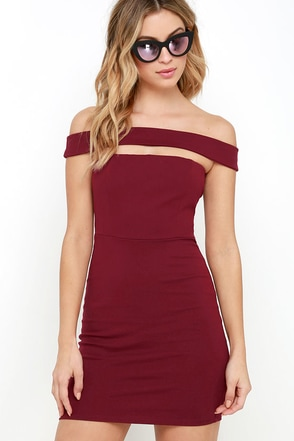 Modern Take Wine Red Off-the-Shoulder Dress at Lulus.com!