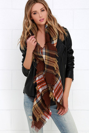 Study in Style Brown Plaid Scarf at Lulus.com!