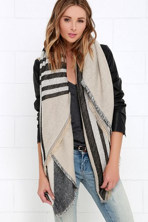 Cliffs of Moher Black and Beige Striped Scarf at Lulus.com!