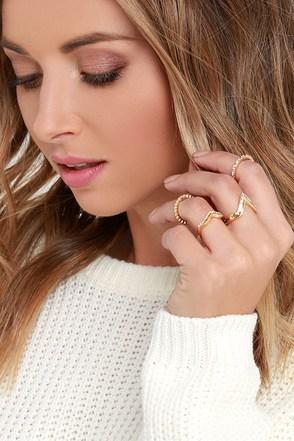 Style Prodigy Gold and Rhinestone Ring Set at Lulus.com!