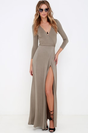 Garden District Taupe Wrap Maxi Dress at Lulus.com!