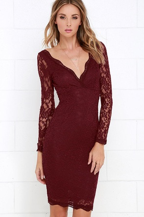 Date Night Burgundy Lace Dress at Lulus.com!