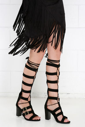 Catching On Black Lace-Up Heels at Lulus.com!