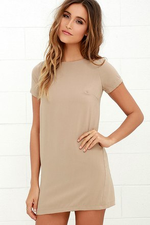 Shift and Shout Beige Shift Dress 1