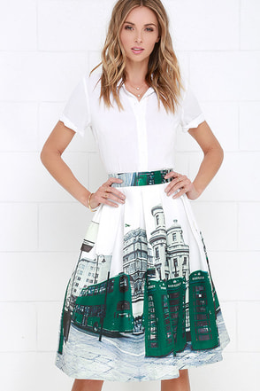 London Town Ivory and Green City Print Midi Skirt at Lulus.com!