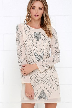 Glamorous Teatro Light Beige Beaded Dress at Lulus.com!