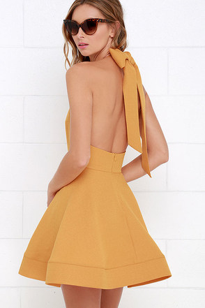 Bow is Me Golden Yellow Halter Dress at Lulus.com!