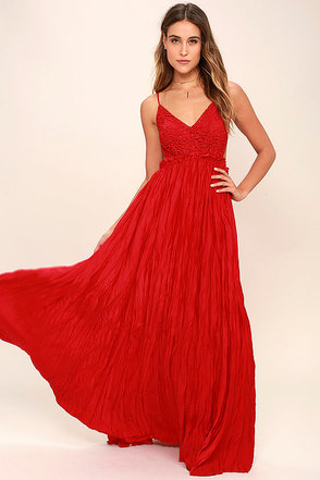 Snowy Meadow Crocheted Red Maxi Dress at Lulus.com!