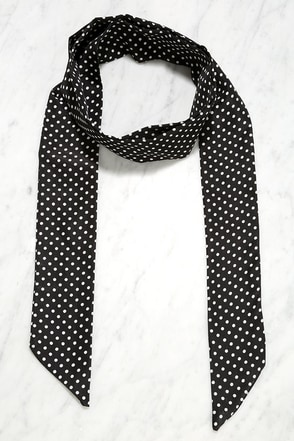 Dance the Polka Ivory and Black Polka Dot Skinny Scarf at Lulus.com!
