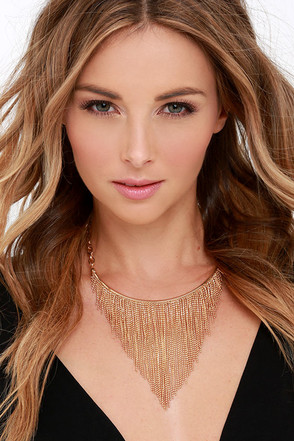 Fringe-Watch Gold Collar Necklace at Lulus.com!