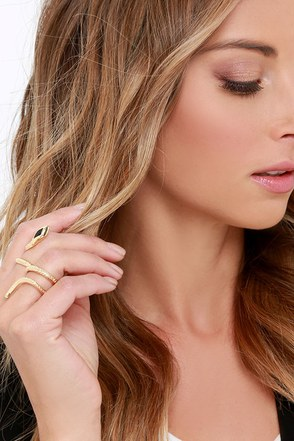 Wild Ways Gold Two-Finger Snake Ring at Lulus.com!