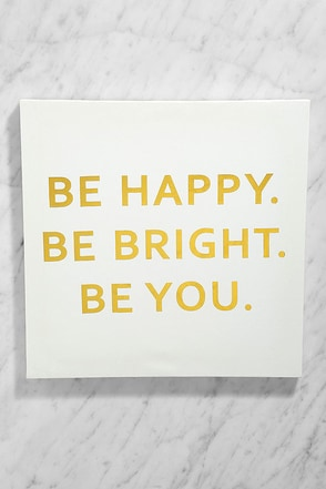 Be Happy White and Gold Wall Canvas at Lulus.com!
