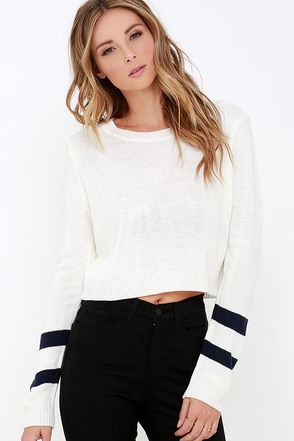 Team Spirit Cream Striped Crop Sweater at Lulus.com!