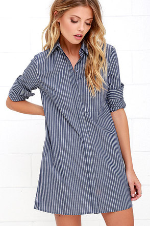 Prep Talk Blue Striped Shirt Dress at Lulus.com!