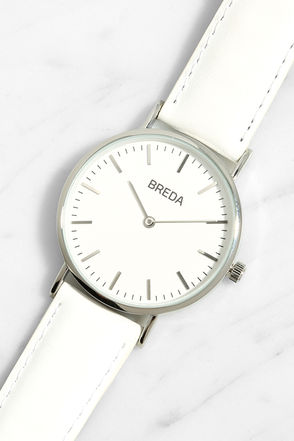 Breda Lyra Silver and White Leather Watch at Lulus.com!
