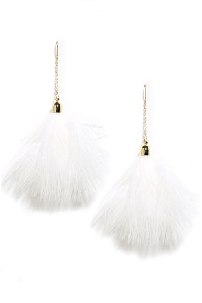 Flock Together Blue Feather Earrings at Lulus.com!