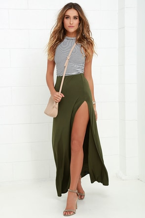 Maracas and Cabasas Olive Green Maxi Skirt at Lulus.com!