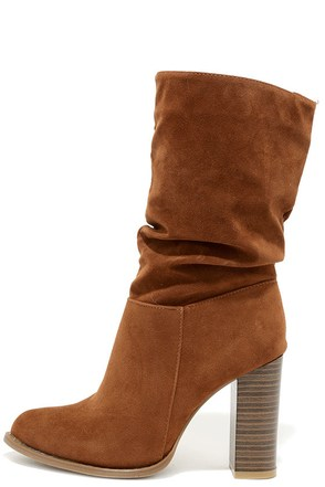 OK to Slouch Tan Suede High Heel Mid-Calf Boots at Lulus.com!