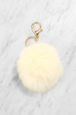 Puff Love Cream Fur Pompom Key Chain at Lulus.com!