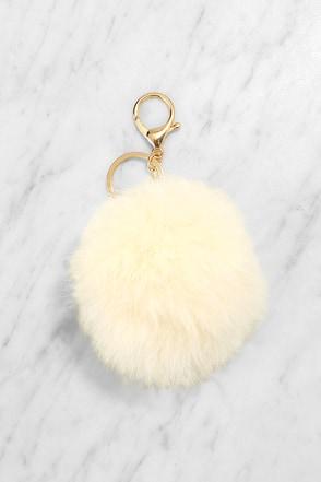 Puff Love Cream Fur Pompom Key Chain at Lulus.com!