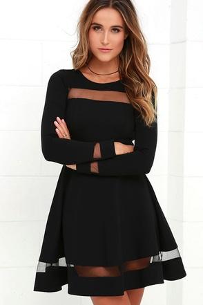 Sheer Leader Black Mesh Skater Dress at Lulus.com!