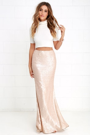 Sea Spray Matte Silver Sequin Maxi Skirt at Lulus.com!