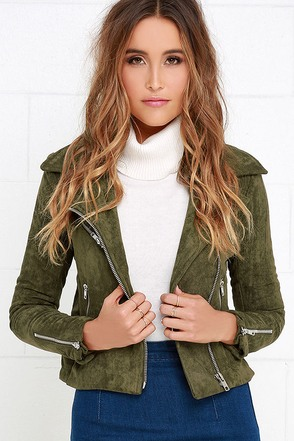 Suede with Love Olive Green Suede Moto Jacket at Lulus.com!