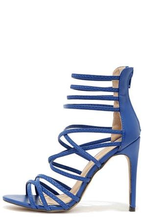 Invites Queen Blue Caged Heels at Lulus.com!