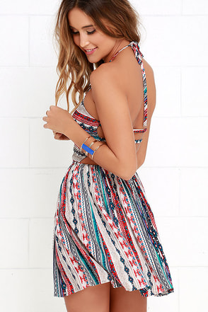 Fest Interest Beige Southwest Print Halter Dress at Lulus.com!
