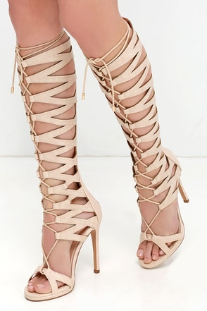 Dame Girl Black Tall Lace-Up Heels at Lulus.com!