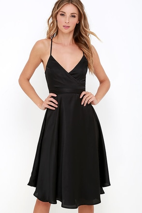 Stolen My Heart Black Wrap Midi Dress at Lulus.com!